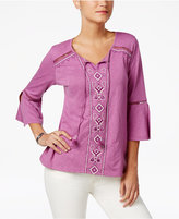 Style&Co. Style & Co Embroidered Lantern-Sleeve Top, Only at Macy's