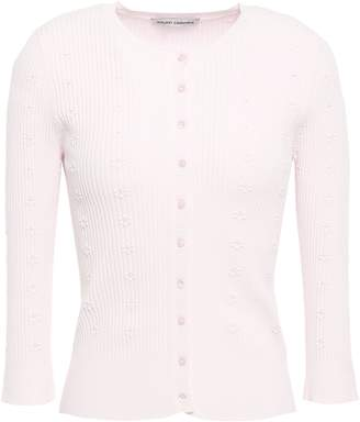 Autumn Cashmere Cotton By Ribbed Embroidered Stretch-knit Cardigan