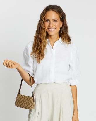 AERE - Women's White Shirts & Blouses - Frill Sleeve Shirt - Size 6 at The Iconic