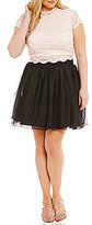 Jodi Kristopher Plus Cap Sleeve Lace Top Two-Piece Dress