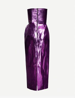 16Arlington Himwari strapless metallic-woven midi dress