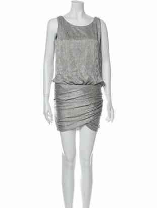 Jay Ahr Bateau Neckline Mini Dress Silver