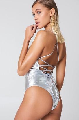 NA-KD Metallic Lacing Back Swimsuit