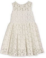 Milly Minis Sleeveless Embroidered Pleated Dress, White, Size 4-7