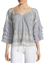 Love Sam Embroidered Off-The-Shoulder Ruffle Sleeve Blouse