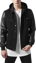Urban Classics Hooded Denim Leather Imitation Jacket blk/blk XXL