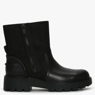 UGG Polk Black Leather Biker Boots