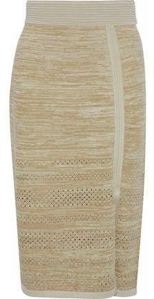 Dagmar House Of Salla Metallic Pointelle-Trimmed Knitted Skirt