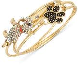 Betsey Johnson Gold-Tone 3-Pc. Dog Lovers Pavé Bracelet Set