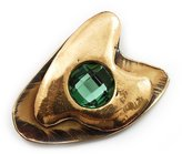 Avalaya 'Pike' Shape With Emerald Green Jewell Ethnic Brooch In Copper Metal