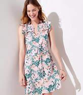 LOFT Petite Lily Ruffle Tie Waist Dress