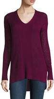 STYLUS Stylus Long-Sleeve Pointelle V-Neck Tunic - Tall