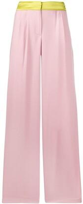 Blanca Vita Contrast-Trim Pleated Wide-Leg Trousers
