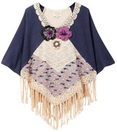 Hannah Banana Mixed Media Poncho With Fringe Detail (Big Girls)