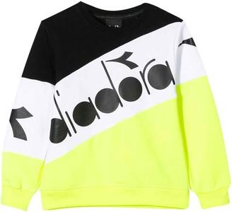 Diadora Yellow, White And Black Sweatshirt