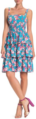 Betsey Johnson Rose Printed Tiered Dress