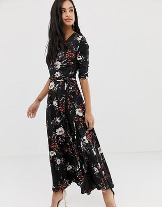 Liquorish floral wrap front maxi dress with tie waist belt and leg split-Multi