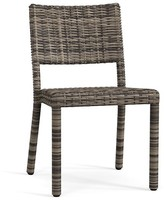 Pottery Barn Torrey All-Weather Wicker Stackable Dining Chair, Charcoal Gray