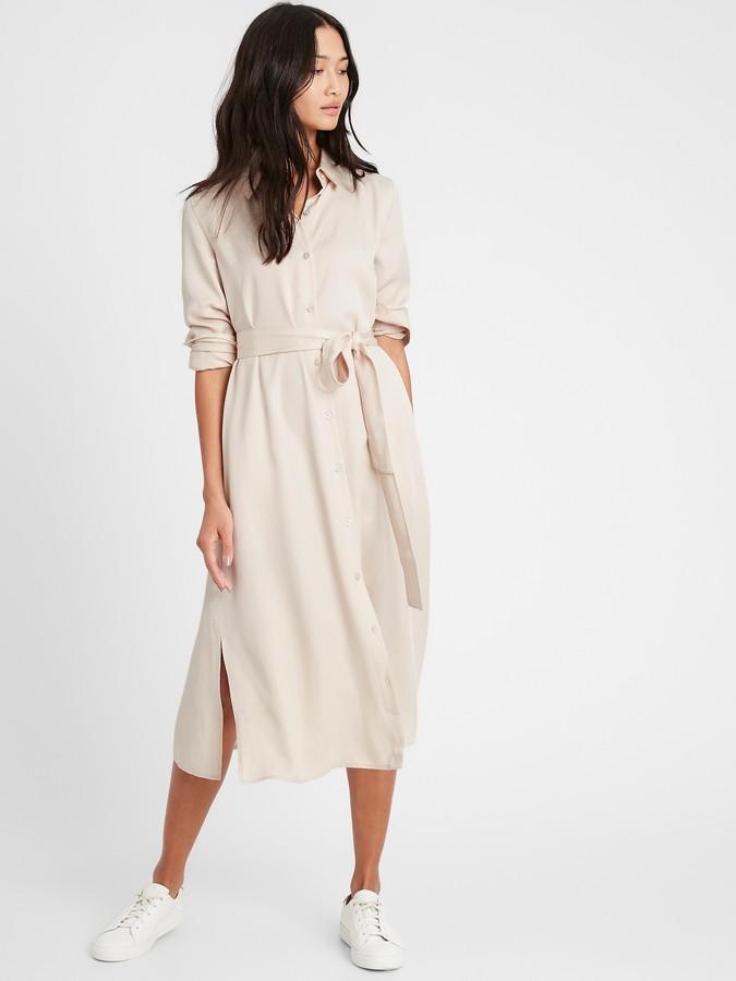 Banana Republic Petite TENCEL Midi Shirt Dress