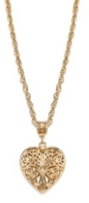 """2028 14K Gold-Dipped Filigree Heart with Swarovski Crystal Accent Necklace 18"""""""
