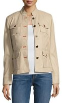 Tory Burch Krista Button-Front Leather Utility Jacket, Beige