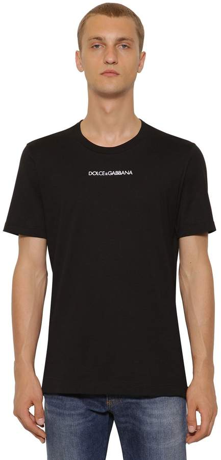 Dolce & Gabbana Logo Embroidered Cotton Jersey T-Shirt