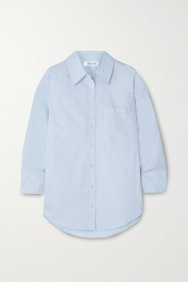 Anine Bing Mika Cotton-poplin Shirt - Light blue