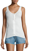 Frame Lace Button-Front Tank, Blanc