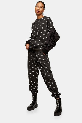 Topshop Womens Eye Print Joggers In Black - Black