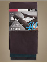 M&S Collection 3 Pair Pack 40 Denier Body SensorTM Opaque Tights