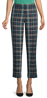 HUGO BOSS Tocanes Stretch Cotton Check Cuffed Trousers