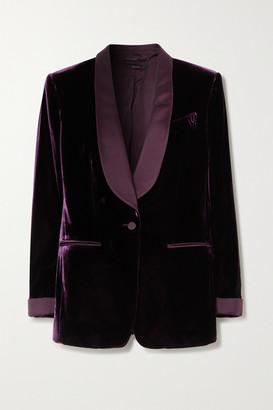 Tom Ford Silk Satin-trimmed Velvet Blazer - Grape