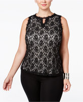 INC International Concepts Plus Size Lace-Overlay Keyhole Top, Only at Macy's