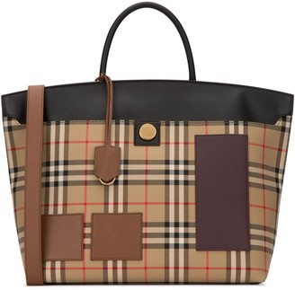 Burberry Vintage Check Motif Medium Society Handbag