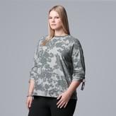 Vera Wang Plus Size Simply Vera Tie-Sleeve French Terry Sweatshirt