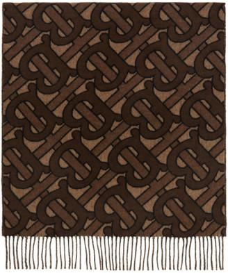 Burberry Brown Cashmere Jacquard Monogram Scarf