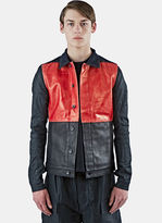 Rick Owens Drkshdw Men's Mixed Panel Worker Jacket In Black And Red