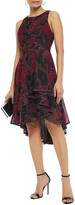 Thumbnail for your product : Halston Asymmetric Ruffled Floral-print Tulle Dress