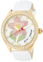 Betsey Johnson Women&s Crystal Flower White Leather Watch