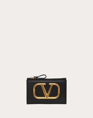 Valentino Vlogo Coin Purse And Cardholder Women Black Calfskin 100% OneSize