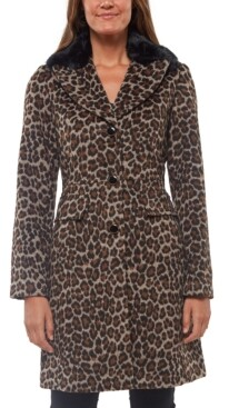 Kate Spade Leopard-Print Faux-Fur-Collar Coat