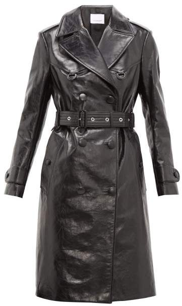 discover latest trends popular style purchase original Tintagel Double Breasted Leather Trench Coat - Womens - Black
