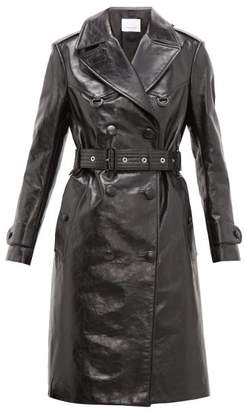 Burberry Tintagel Double-breasted Leather Trench Coat - Womens - Black