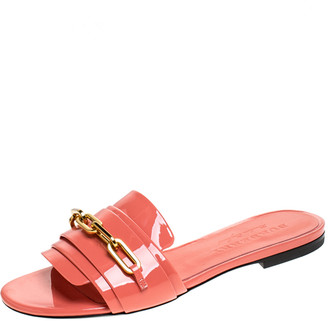 Burberry Coral Orange Patent Leather Coleford Slide Flats Size 36.5