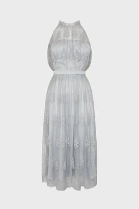 Coast Pleated High Neck Mesh Dress