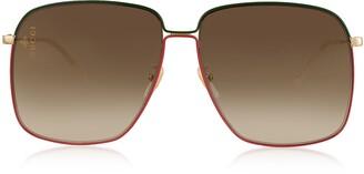 Gucci GG0394S Rectangular-frame Metal Sunglasses w/Mini Interlocking G Logo