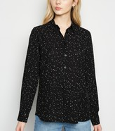 New Look Spot Long Sleeve Chiffon Shirt