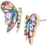 Betsey Johnson Gold-Tone Multi-Stone Butterfly Stud Earrings