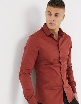 Asos DESIGN stretch skinny fit shirt in rust