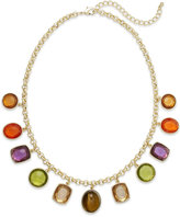 Charter Club Gold-Tone Multicolor Frontal Drop Necklace